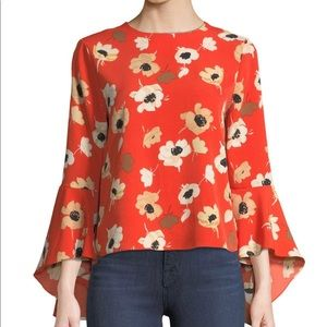 Carmen Floral-Print Bell-Sleeve Button-Back Blouse